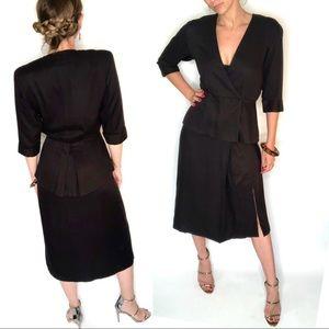 Vintage 1980s Katie ruffle suit dress, Size 6